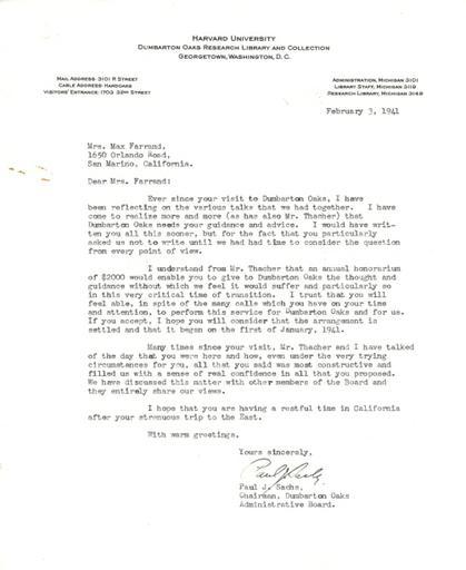 Paul J. Sachs to Beatrix Farrand, February 3, 1941