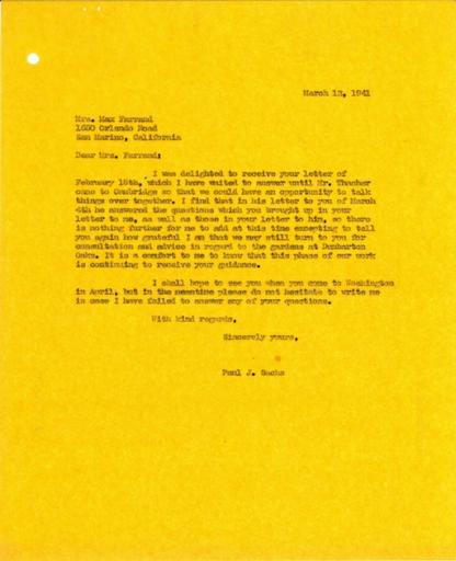 Paul J. Sachs to Beatrix Farrand, March 12, 1941