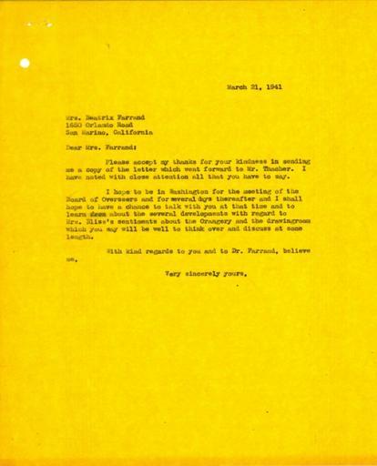 Paul J. Sachs to Beatrix Farrand, March 21, 1941