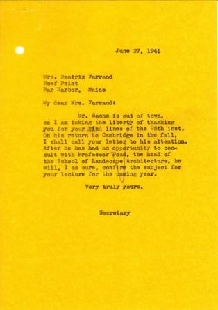 Paul Sachs' secretary to Beatrix Farrand, June 27, 1941