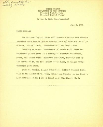 Press Release, National Capital Parks, July 8, 1941