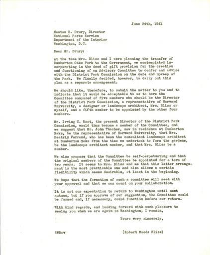Robert Bliss to Newton B. Drury, June 24, 1941