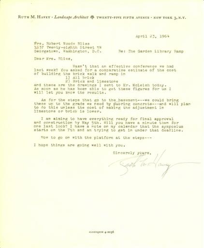 Ruth Havey to Mildred Bliss, April 23, 1964