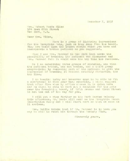 Ruth Havey to Mildred Bliss, December 7, 1937