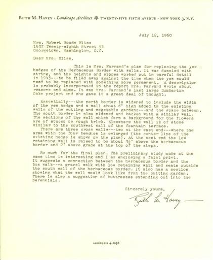 Ruth Havey to Mildred Bliss, July 12, 1960