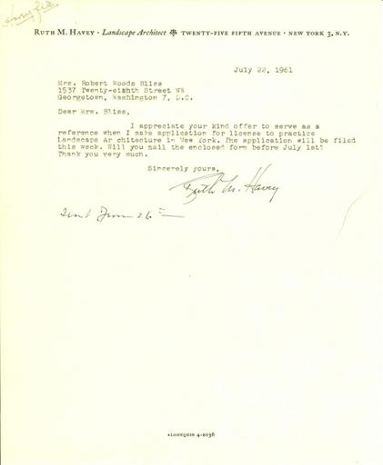 Ruth Havey to Mildred Bliss, July 22, 1961