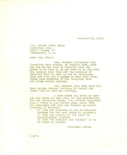 Ruth Havey to Mildred Bliss, November 29, 1937