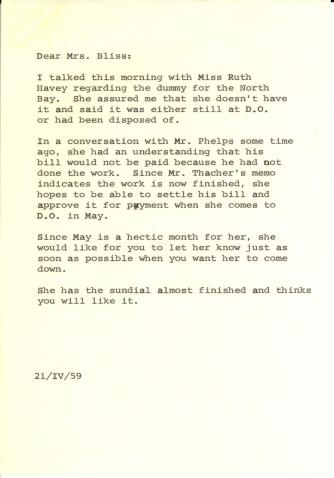 To Mildred Bliss, April 21, 1959