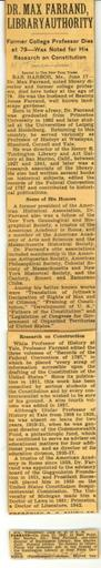 New York Times obituary for Dr. Max Farrand, library authority, June 18, 1945 and death notice, June 20, 1945