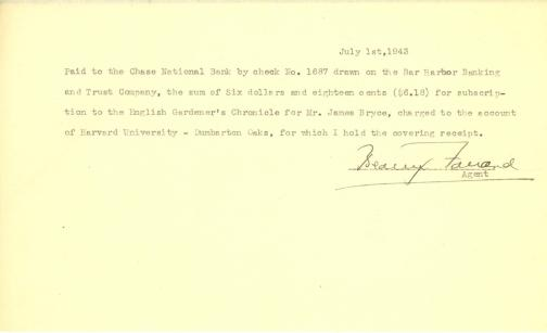 Account of payment for purchase of Gardeners' Chronicle by Beatrix Farrand, July 1, 1943