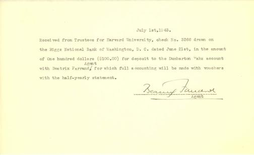 Account of payment from Dumbarton Oaks, Trustees for Harvard University, to Beatrix Farrand, July 1, 1943