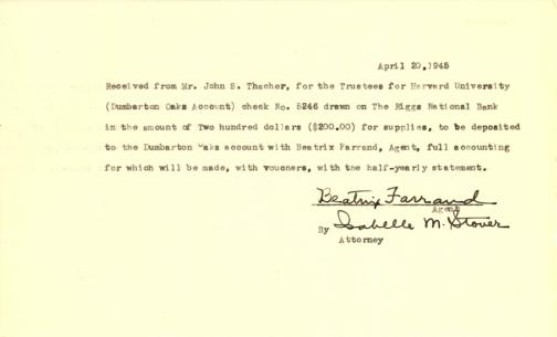 Account of payment from John Thacher to Beatrix Farrand, April 20, 1945