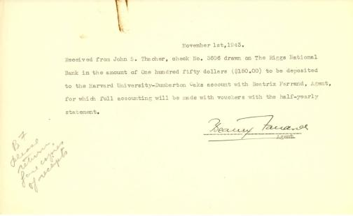 Account of payment from John Thacher to Beatrix Farrand, November 1, 1943