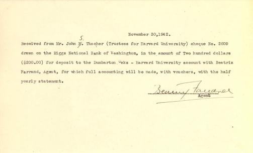 Account of payment from John Thacher to Beatrix Farrand, November 30, 1942