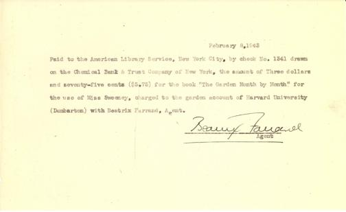Account of payment to American Library Service by Beatrix Farrand, February 8, 1943