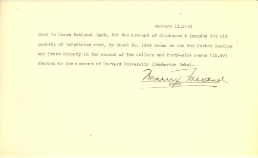 Account of payment to Blackmore & Langdon by Beatrix Farrand, January 11, 1943