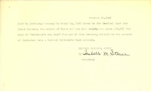 Account of payment to Doubleday Company by Isabelle Stover, October 29, 1946