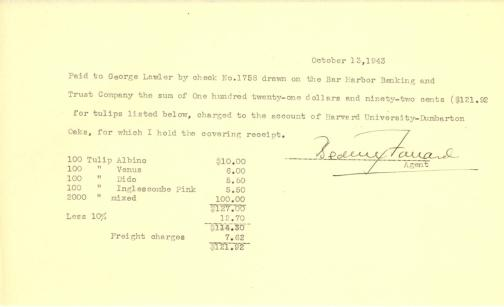 Account of payment to George Lawler (Firm) by Beatrix Farrand, October 13, 1943