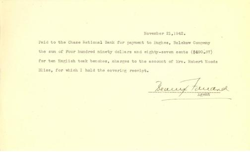 Account of payment to Hughes, Bolckow by Beatrix Farrand, November 21, 1942