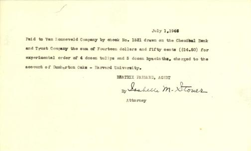 Account of payment to John H. van Zonneveld Comp. by Beatrix Farrand, July 1, 1946