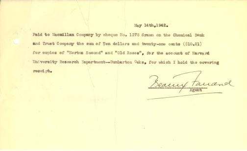 Account of payment to Macmillan Company by Beatrix Farrand, May 14, 1942