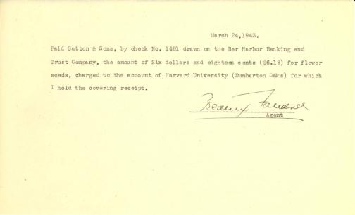 Account of payment to Sutton & Sons by Beatrix Farrand, March 24, 1943