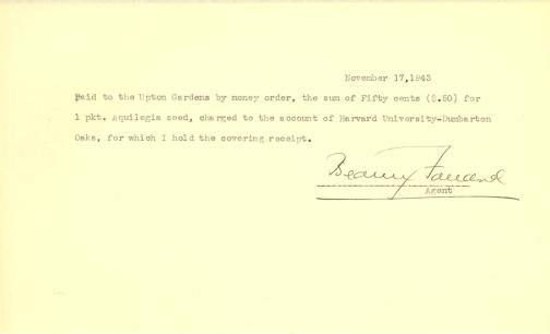 Account of payment to Upton Gardens by Beatrix Farrand, November 17, 1943