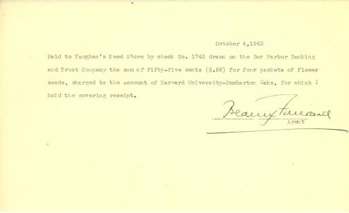 Account of payment to Vaughan's Seed Store by Beatrix Farrand, October 4, 1943