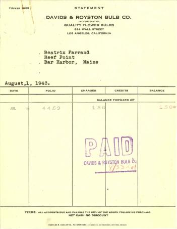 Account statement from Davids & Royston Bulb Co. to Beatrix Farrand, August 1, 1943