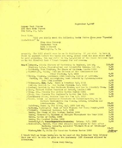 Book order from Beatrix Farrand to Argosy Book Stores, September 3, 1947