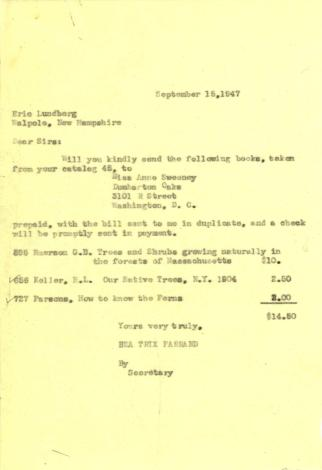 Book order from Beatrix Farrand to Eric Lundberg, September 15, 1947