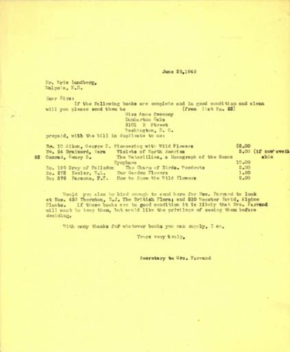 Book order from Isabelle Stover to Eric Lundberg, June 28, 1948