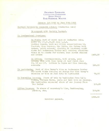 Expense report from Beatrix Farrand to Dumbarton Oaks, January 1, 1942 to June 30, 1942