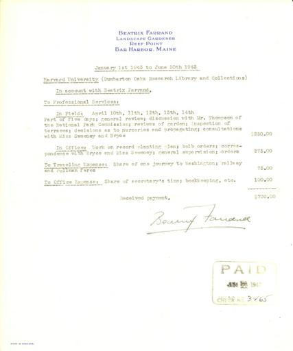 Expense report from Beatrix Farrand to Dumbarton Oaks, January 1, 1943 to June 30, 1943