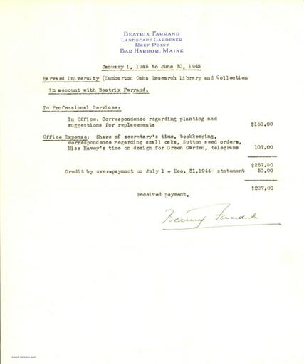 Expense report from Beatrix Farrand to Dumbarton Oaks, January 1, 1945 to June 30, 1945