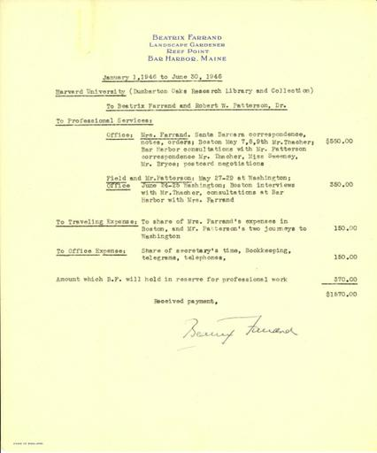 Expense report from Beatrix Farrand to Dumbarton Oaks, January 1, 1946 to June 30, 1946
