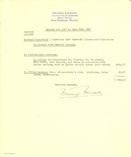 Revised expense report from Beatrix Farrand to Dumbarton Oaks, January 1, 1947 to June 30, 1947