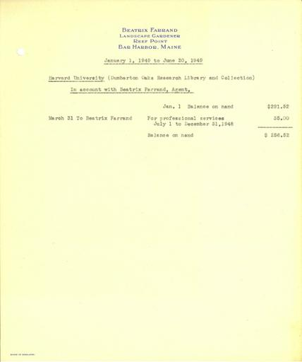 Expense report from Beatrix Farrand to Dumbarton Oaks, January 1, 1949 to June 30, 1949