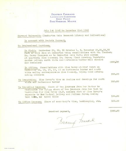 Expense report from Beatrix Farrand to Dumbarton Oaks, July 1, 1942 to December 31, 1942