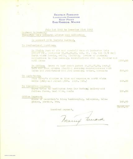 Expense report from Beatrix Farrand to Dumbarton Oaks, July 1, 1943 to December 31, 1943