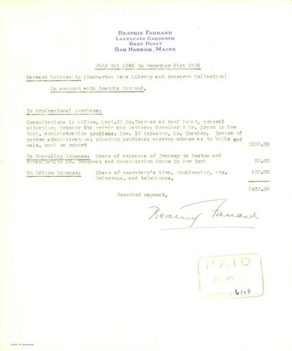 Expense report from Beatrix Farrand to Dumbarton Oaks, July 1, 1945 to December 31, 1945