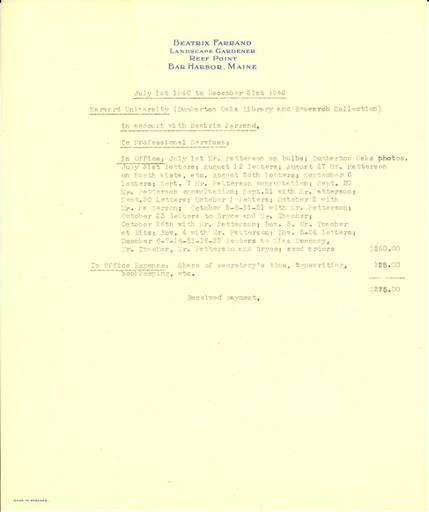Expense report from Beatrix Farrand to Dumbarton Oaks, July 1, 1946 to December 31, 1946