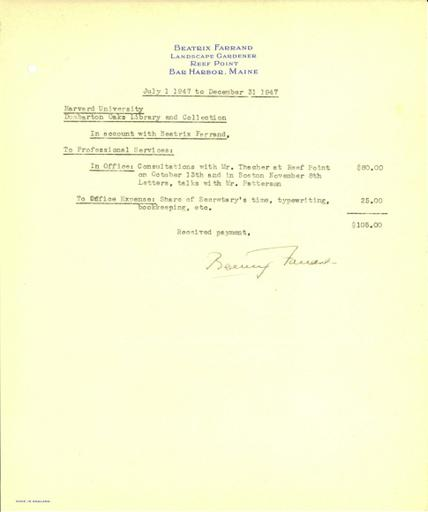 Expense report from Beatrix Farrand to Dumbarton Oaks, July 1, 1947 to December 31, 1947
