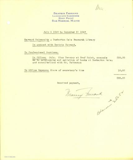 Expense report from Beatrix Farrand to Dumbarton Oaks, July 1, 1948 to December 31, 1948