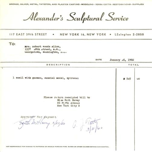 Invoice from Alexander's Sculptural Service to Mildred Bliss, January 26, 1960