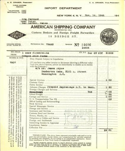 Itemized receipt from American Shipping Company, Inc. to Beatrix Farrand, November 14, 1946