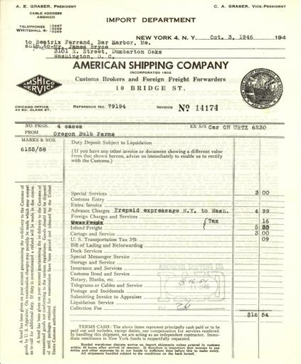 Itemized receipt from American Shipping Company, Inc. to Beatrix Farrand, October 3, 1946