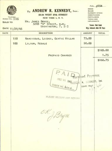 Itemized receipt from Andrew R. Kennedy, Inc. to James Bryce, November 28, 1945