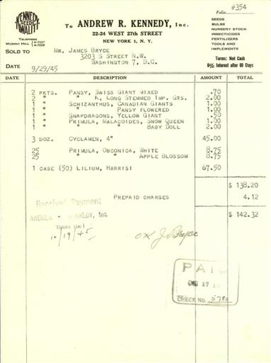 Itemized receipt from Andrew R. Kennedy, Inc. to James Bryce, September 29, 1945
