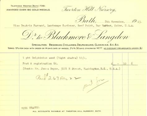 Itemized receipt from Blackmore & Langdon to Beatrix Farrand, November 8, 1943